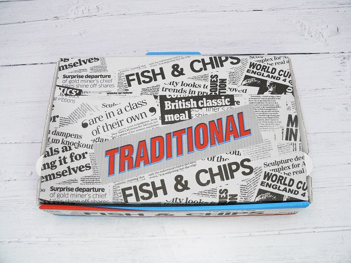 2 Compartment Large Print Fish and Chips Box - GM Packaging (UK) Ltd