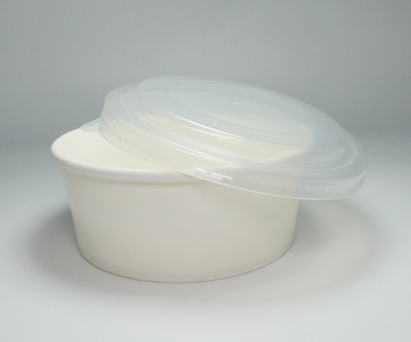 155mm Round PP lid to fit WHITE Food Bowls - GM Packaging (UK) Ltd