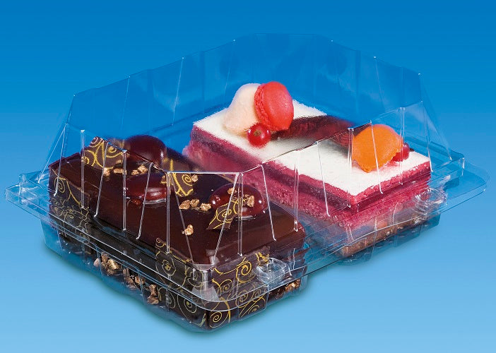Two Cake Slice Hinged Container - GM Packaging (UK) Ltd