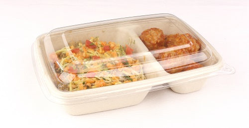 PP lid to fit 2 compartments compostable containers - GM Packaging UK Ltd