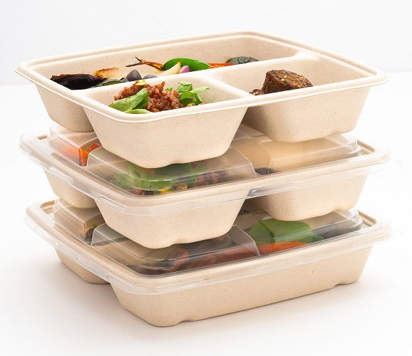 3 Compartments BePulp Compostable Containers - GM Packaging (UK) Ltd