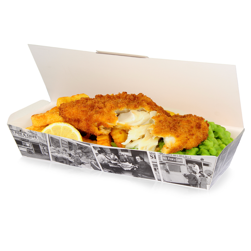 Large Fish and Chip Box 'Retro Newsprint'/125s - GM Packaging (UK) Ltd
