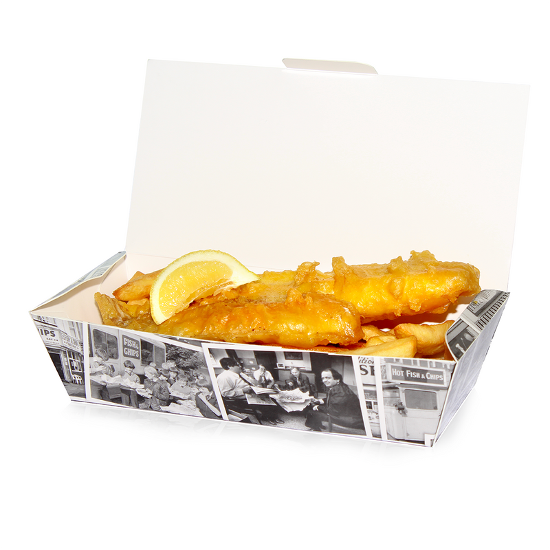 Medium Fish and Chip Box 'Retro Newsprint'/150s - GM Packaging (UK) Ltd