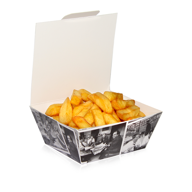 Small Fish and Chip Box 'Retro Newsprint'/250s - GM Packaging (UK) Ltd