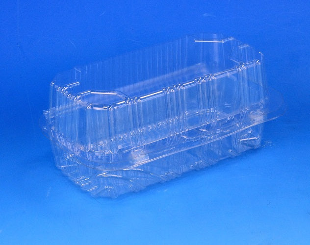 50 Clear Twin Cake Slice Box Container Deep Double Cavity Hinged Holder Eclair