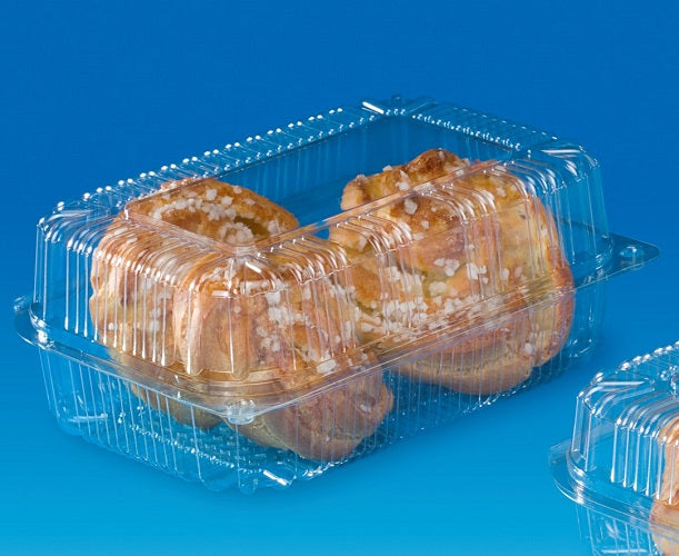 180x120x75mm Rectangular Cake Hinged Container - GM Packaging (UK) Ltd