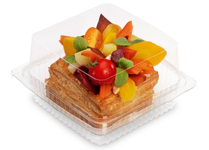 135x135x70mm Square Cake Hinged Container - GM Packaging (UK) Ltd