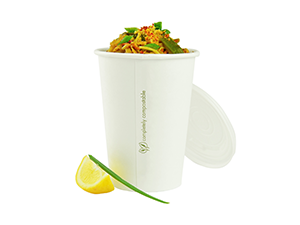 Flat Biodegradable Lids to fit 32oz Soup Cups - GM Packaging (UK) Ltd