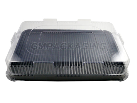 Large Plastic Serving Platters BASE with LIDS - GM Packaging UK Ltd