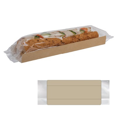 Kraft baguette Trays with Clear Film
