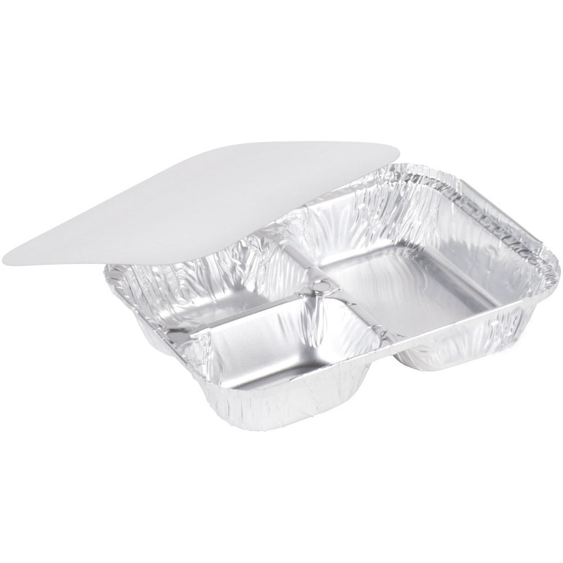 Paper Lid to fit 3 Compartment Foil Containers - GM Packaging (UK) Ltd