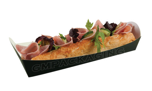 black cardboard baguette trays - GM Packaging UK Ltd