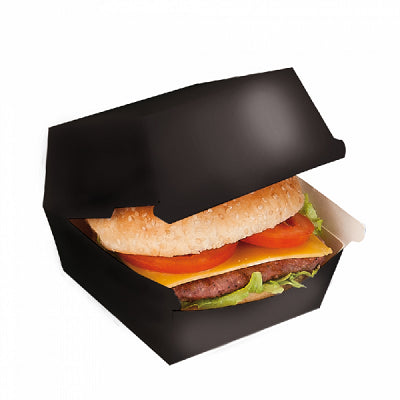 Black Paper Burger Box - GM Packaging (UK) Ltd