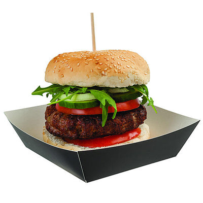 Black Cardboard Burger Tray - GM Packaging (UK) Ltd