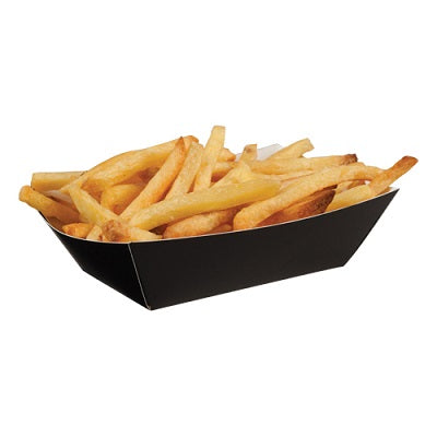 10x6x3.5cm Black Paper Food Trays - GM Packaging (UK) Ltd