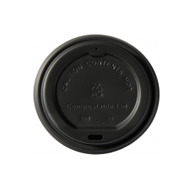 8oz black compostable lid - GM Packaging UK Ltd
