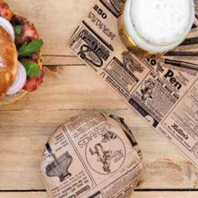 28x34cm Greaseproof Burger Wraps Paper Kraft Times - GM Packaging (UK) Ltd