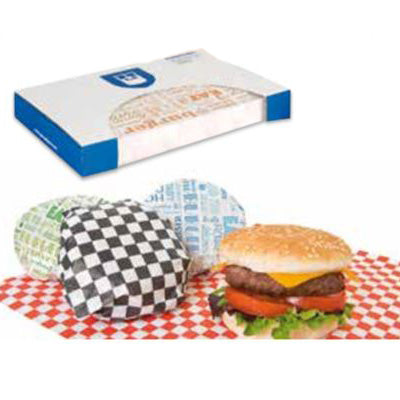 28x34cm Greaseproof Burger Wraps Paper 'Blue Parole' - GM Packaging (UK) Ltd