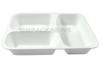 3 Compartments White Lidding Tray/320s - GM Packaging (UK) Ltd