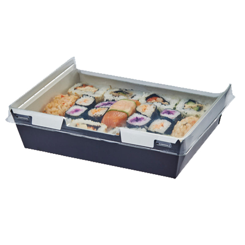 1280ml Combione Black tray with rPET Lid - GM Packaging (UK) Ltd