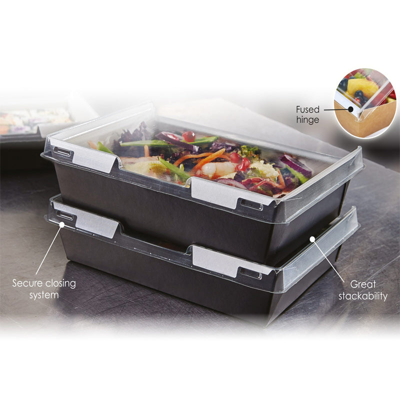 1110ml Combione Black tray with rPET Lid - GM Packaging (UK) Ltd
