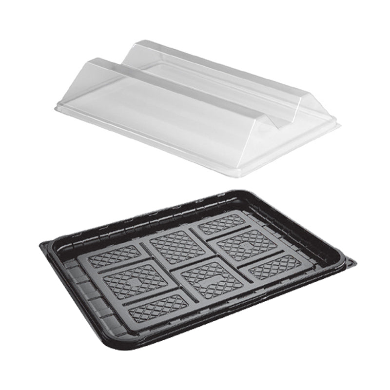 345x265mm Medium Platter with 2 compartment lids - GM Packaging (UK) Ltd
