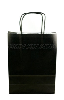 Small Black Paper Carrier bags with twisted handles - GM Packaging UK Ltd