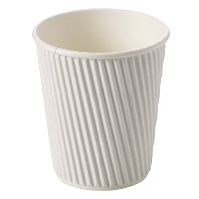8oz White Ripple Coffee Cups