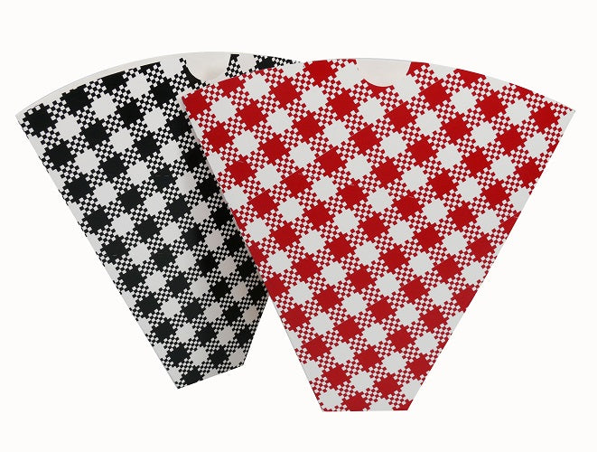 Red Gingham Paper Crepe Cones - GM Packaging (UK) Ltd