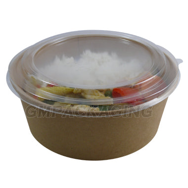 PET Dome Lid to fit 1300ml kraft bowls - GM Packaging UK Ltd