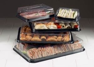 Small Plastic Serving Platter BASE with LIDS - GM Packaging UK Ltd
