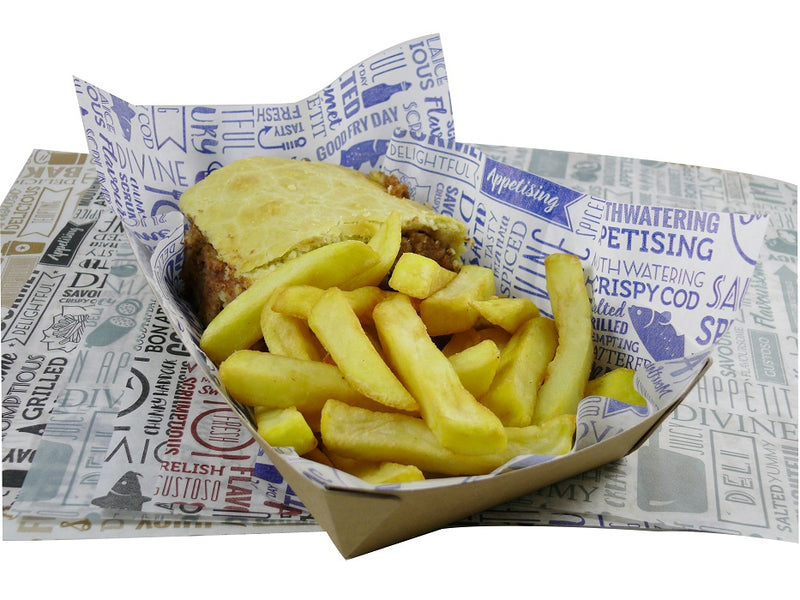 297x210mm Greaseproof Paper Fish & Chips - Blue - GM Packaging (UK) Ltd