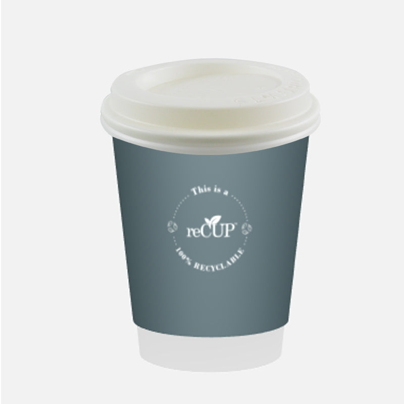8oz reCups Grey double wall cups - GM Packaging UK ltd