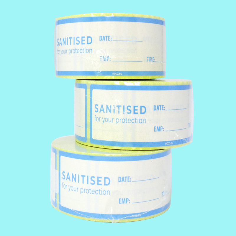 38x200mm Sanitised Labels Removable - GM Packaging (UK) Ltd