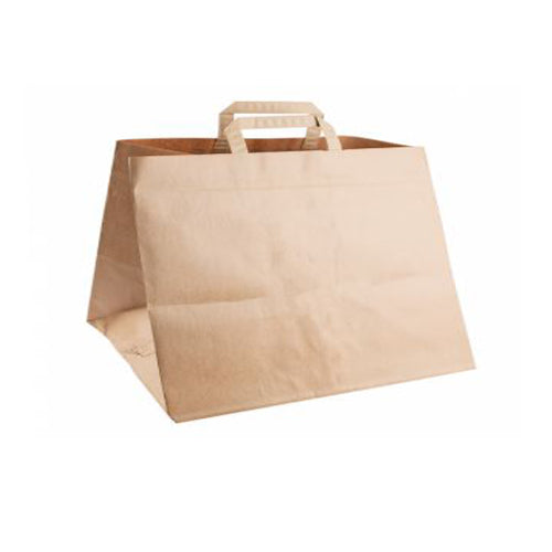 Large Kraft Patisserie Carrier Bags (Flat Handles) - GM Packaging (UK) Ltd