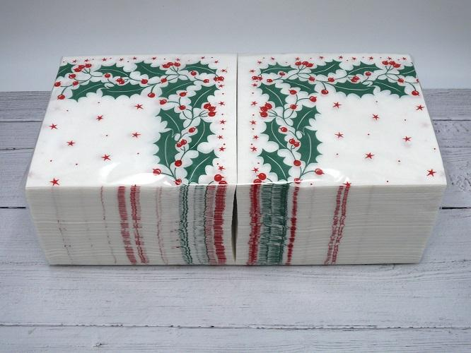 33mm 2 Ply Holly Festive Napkin - GM Packaging (UK) Ltd