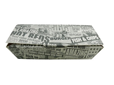 Medium Fish and Chip Boxes 'Newsprint' - GM Packaging (UK) Ltd