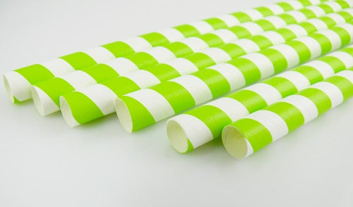 10mm White and Green Striped Paper Straws - GM Packaging (UK) Ltd