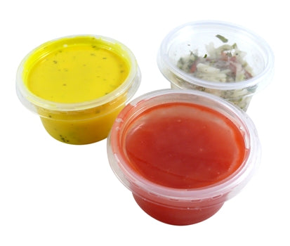 4oz 'Majestic' Clear Plastic Dip Pots with Lids - GM Packaging (UK) Ltd