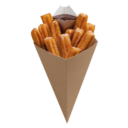 Small Kraft Food Cone with dip corner - GM Packaging (UK) Ltd