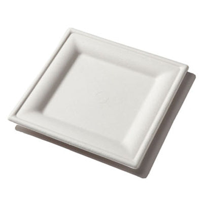 8 inch Square Sugarcane Plates - GM Packaging (UK) Ltd