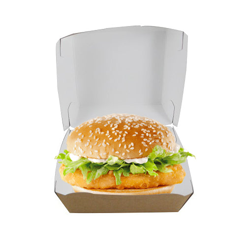 Large Kraft Cardboard Burger Box - GM Packaging (UK) Ltd