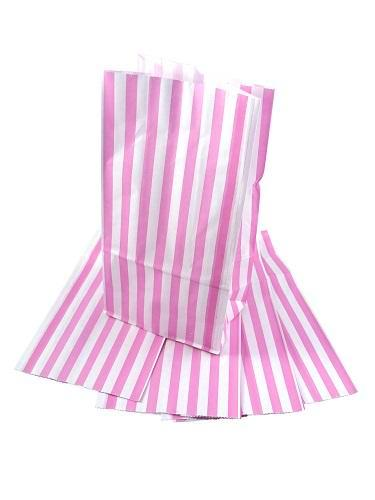 Sweet Candy Pink Stripe Paper Bag - GM Packaging (UK) Ltd