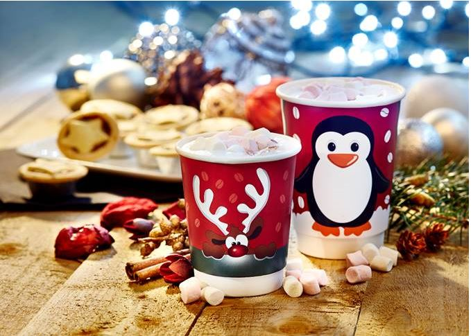 8oz RED Rudolph Double Wall Cups - GM Packaging UK Ltd