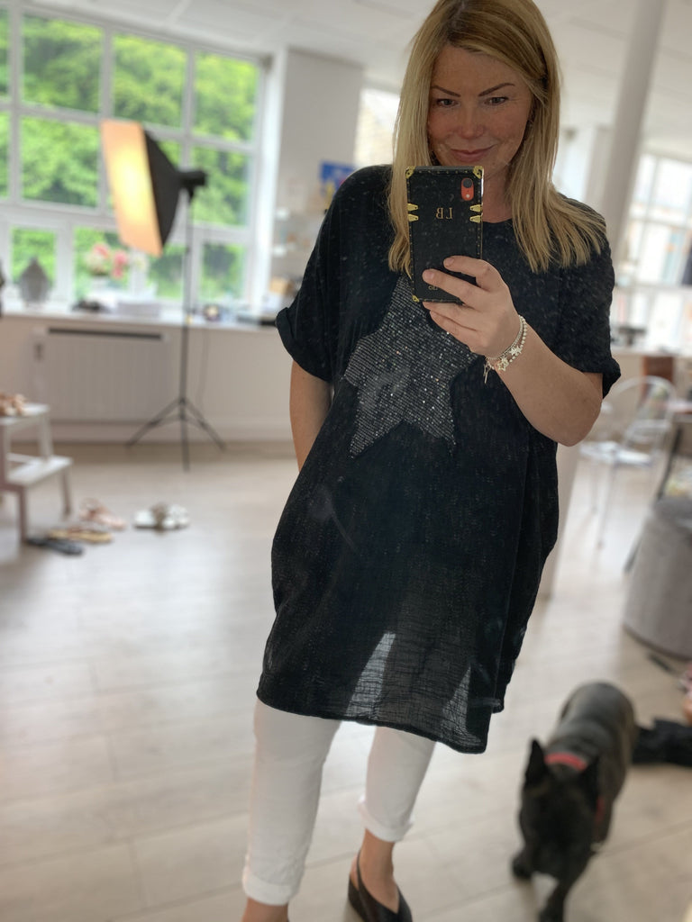 The Linen Sequin Star Pocket Tunic