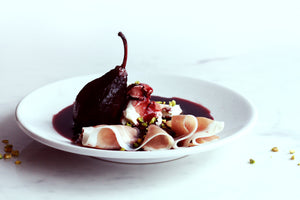 Poached pears with mascarpone and Rutland prosciutto recipe