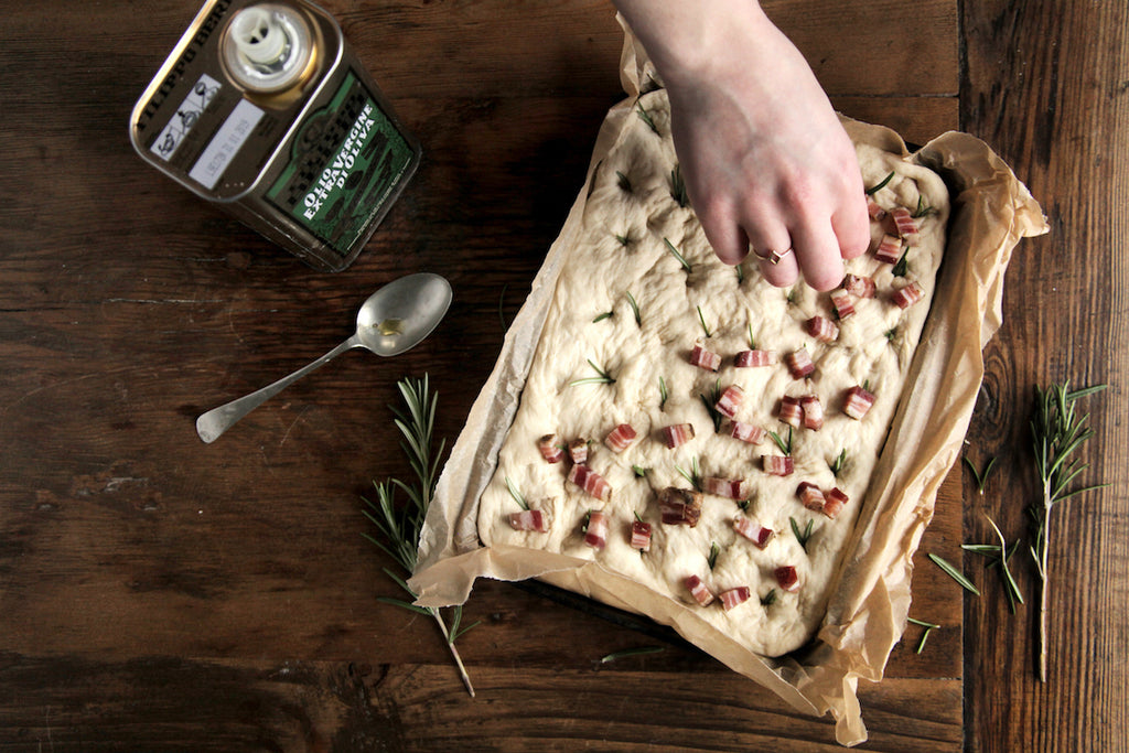 focaccia recipe pancetta rosemary real bread week British charcuterie