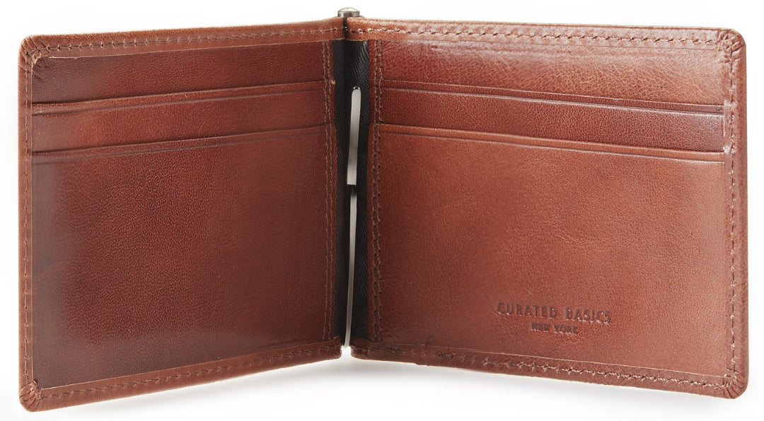 Brown leather money clip wallet opened to show inside | Style Standard