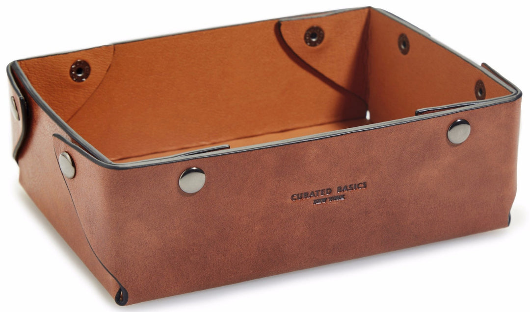 Brown Leather Catchall Tray