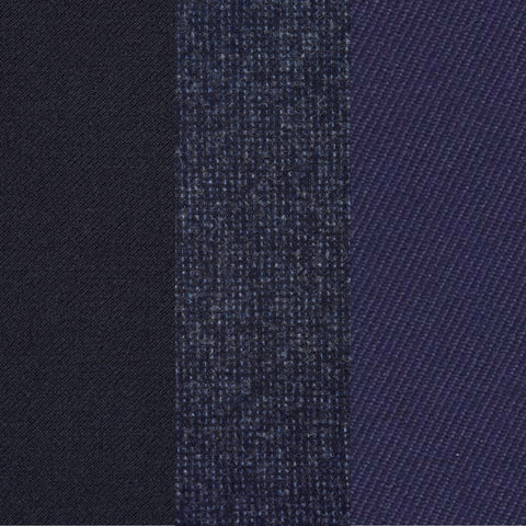 Navy Worsted Wool Sample, Navy Flannel Wool Sample, Purple Serge Wool Sample